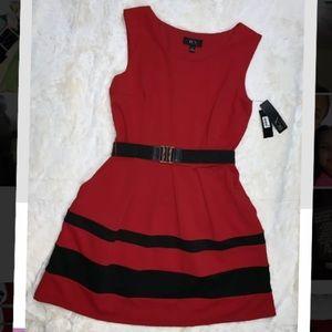 NWT BCX DRESS Women's Red Black Striped Sleeveless